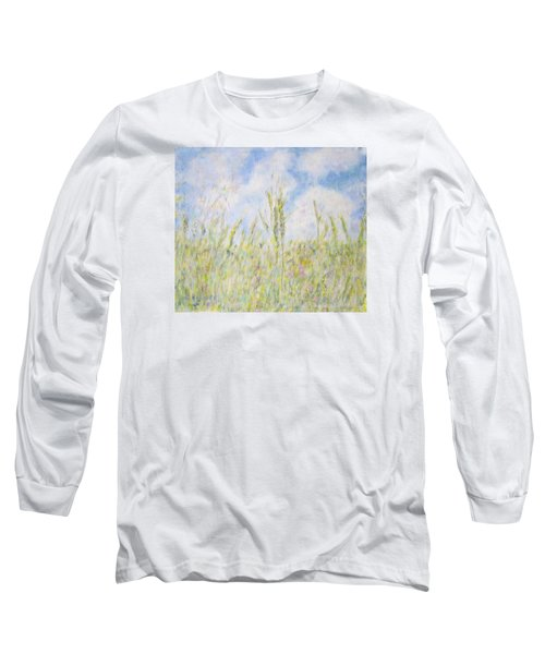 Wheat Field And Wildflowers Long Sleeve T-Shirt