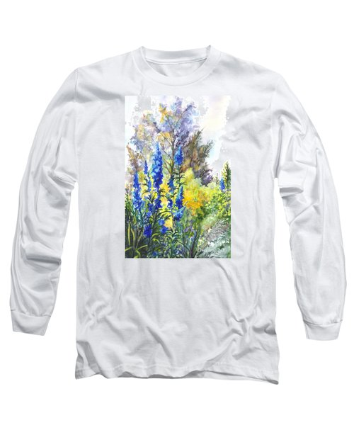 Where The Delphinium Blooms Long Sleeve T-Shirt by Carol Wisniewski