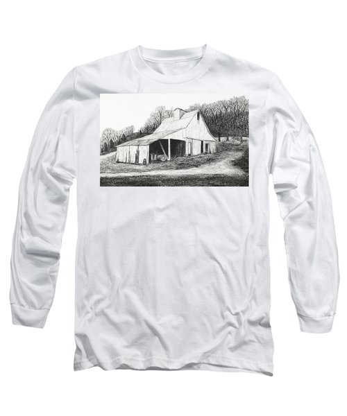 White Barn On Bluff Road Long Sleeve T-Shirt by Garry McMichael