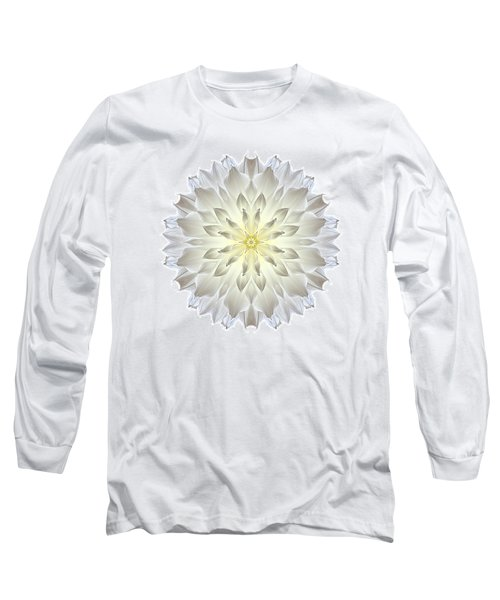 Giant White Dahlia I Flower Mandala White Long Sleeve T-Shirt