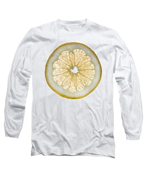 White Grapefruit Slice Long Sleeve T-Shirt by Steve Gadomski