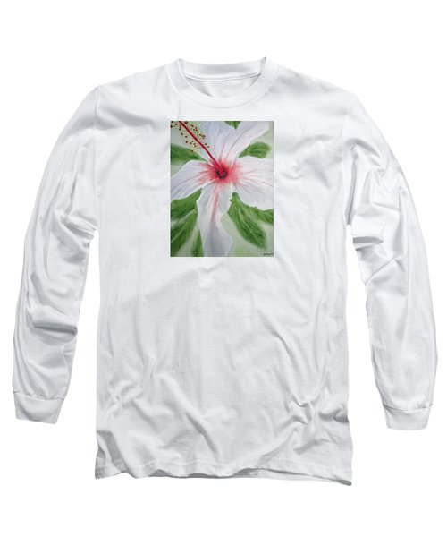White Hibiscus Flower Long Sleeve T-Shirt