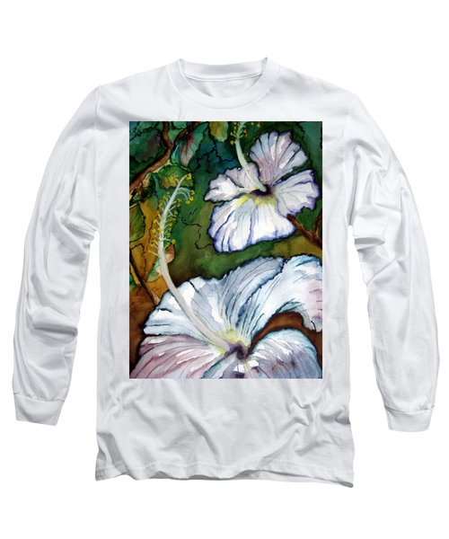 White Hibiscus Long Sleeve T-Shirt by Lil Taylor