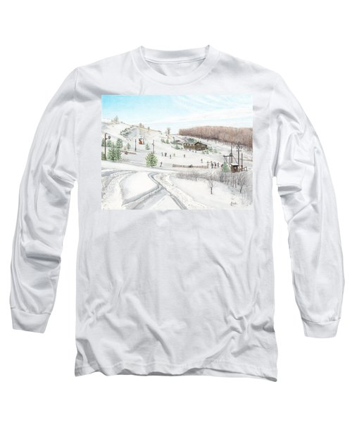 Long Sleeve T-Shirt featuring the painting White Mountain Resort by Albert Puskaric