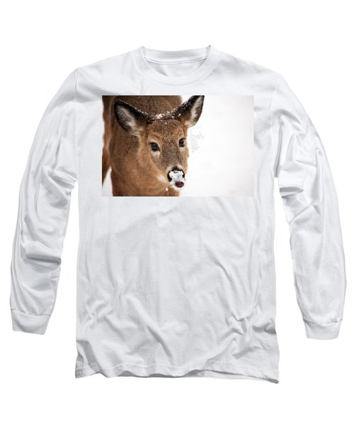 White On The Nose Long Sleeve T-Shirt by Karol Livote