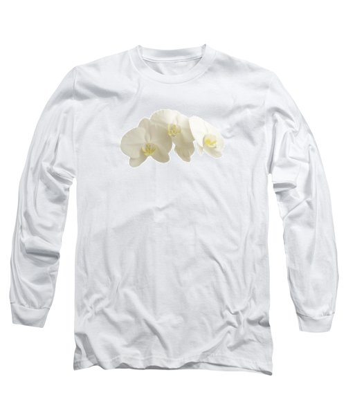 White Orchids On White Long Sleeve T-Shirt