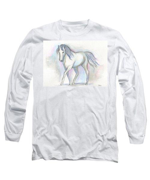 White Pony Long Sleeve T-Shirt by Roz Abellera Art