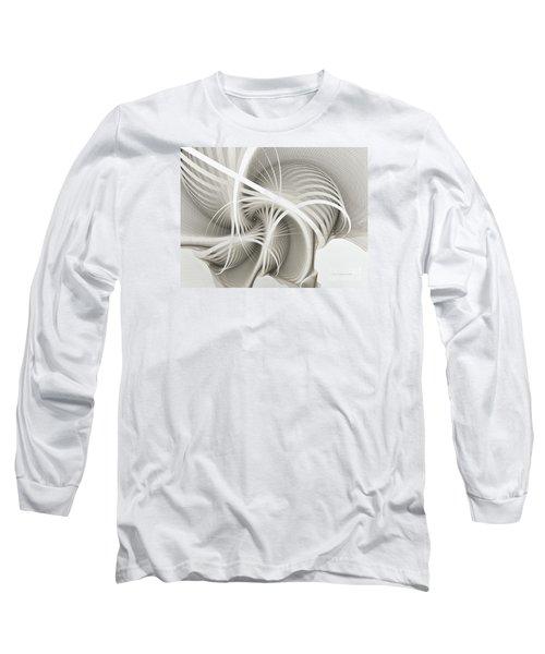 White Ribbons Spiral Long Sleeve T-Shirt by Karin Kuhlmann