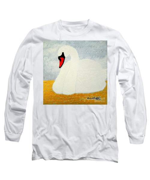 Long Sleeve T-Shirt featuring the painting White Swan Lake by Richard W Linford