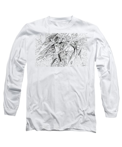 White-tail Encounter Long Sleeve T-Shirt by Bern Miller