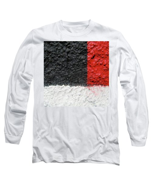 White Versus Black Over Red Long Sleeve T-Shirt