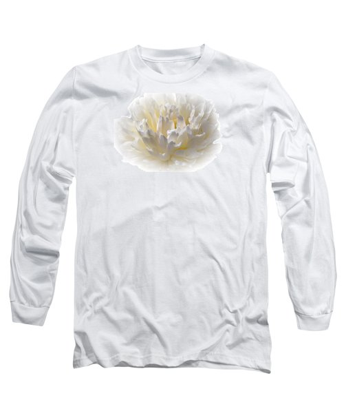 White Peony With A Dash Of Yellow Long Sleeve T-Shirt by Sherman Perry