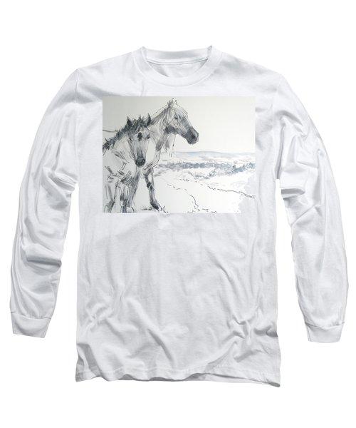 Wild Horses Drawing Long Sleeve T-Shirt