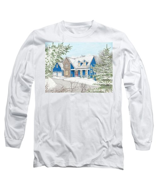 Long Sleeve T-Shirt featuring the painting Wiley House by Albert Puskaric