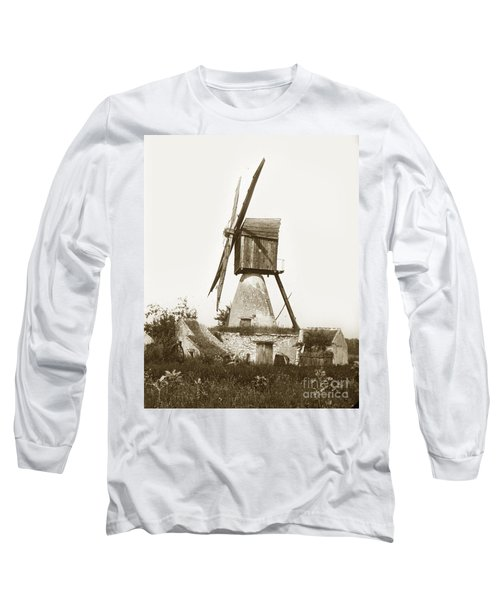 Long Sleeve T-Shirt featuring the photograph Wind Mill In France 1900 Historical Photo by California Views Mr Pat Hathaway Archives