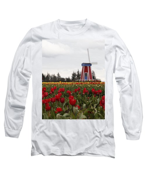Windmill Red Tulips Long Sleeve T-Shirt by Athena Mckinzie