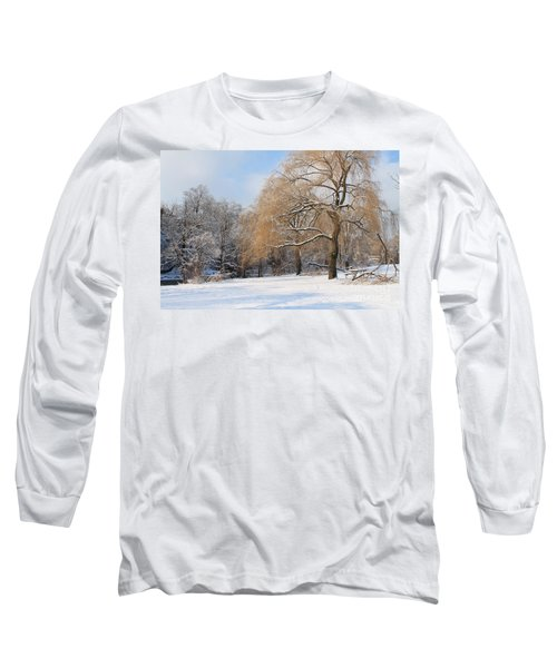 Long Sleeve T-Shirt featuring the photograph Winter Along The River by Nina Silver