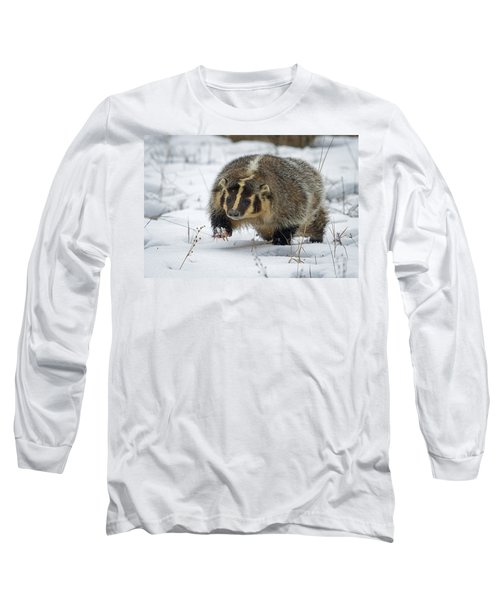 Long Sleeve T-Shirt featuring the photograph Winter Badger by Jack Bell