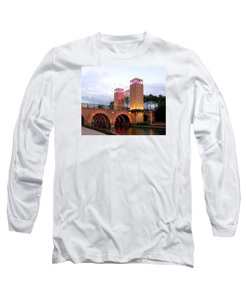 Long Sleeve T-Shirt featuring the photograph Winter Evening Lights On The Woodlands Waterway by Connie Fox