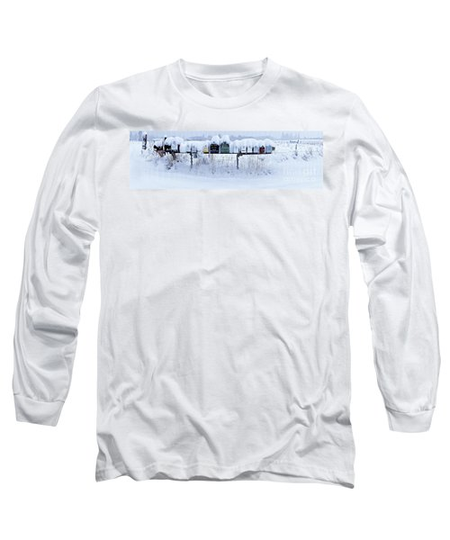 Winter Mailbox Panorama Long Sleeve T-Shirt