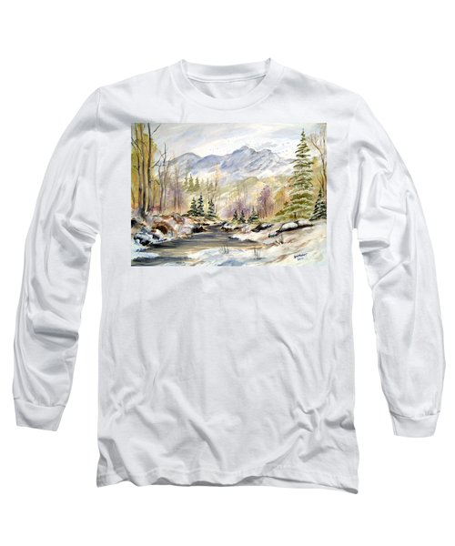 Long Sleeve T-Shirt featuring the painting Winter On The River by Dorothy Maier