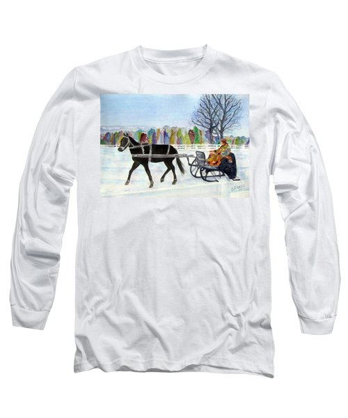 Long Sleeve T-Shirt featuring the painting Winter Sleigh Ride by Carol Flagg