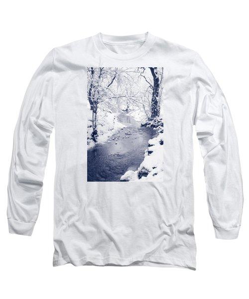 Long Sleeve T-Shirt featuring the photograph Winter Stream by Liz Leyden