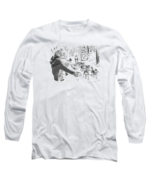 Winter Suited Volunteers Hold Out Dog Dishes Long Sleeve T-Shirt