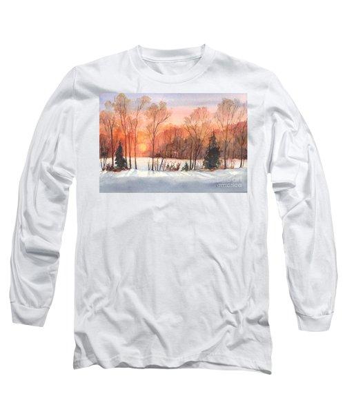 A Hedgerow Sunset Long Sleeve T-Shirt by Carol Wisniewski