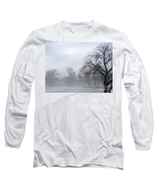 Long Sleeve T-Shirt featuring the photograph Winter Trees With Mist by Jeannie Rhode