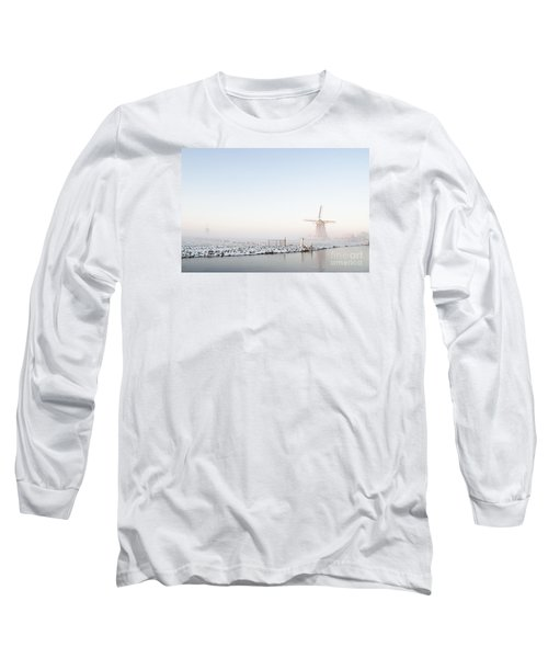 Winter Windmill Landscape In Holland Long Sleeve T-Shirt by IPics Photography