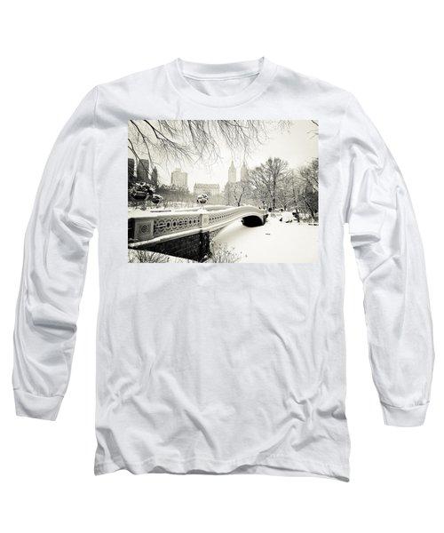 Winter's Touch - Bow Bridge - Central Park - New York City Long Sleeve T-Shirt