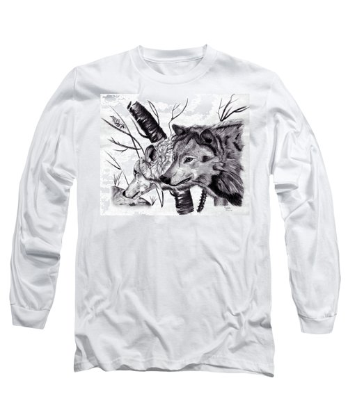 Long Sleeve T-Shirt featuring the drawing Wolves by Mayhem Mediums