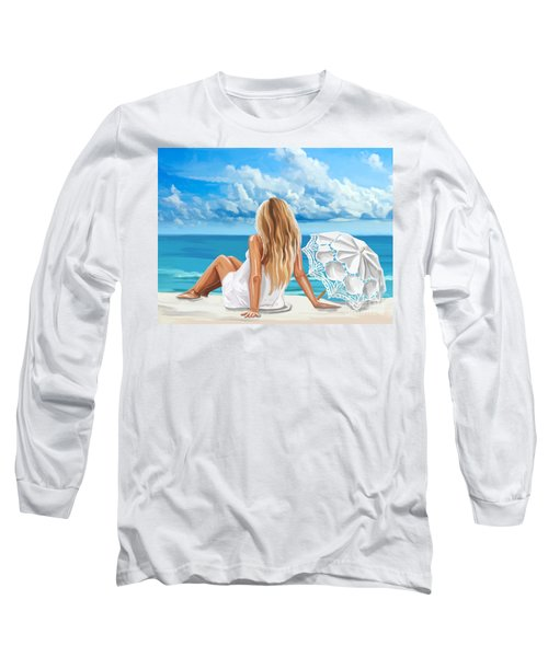 Woman At The Beach Long Sleeve T-Shirt by Tim Gilliland