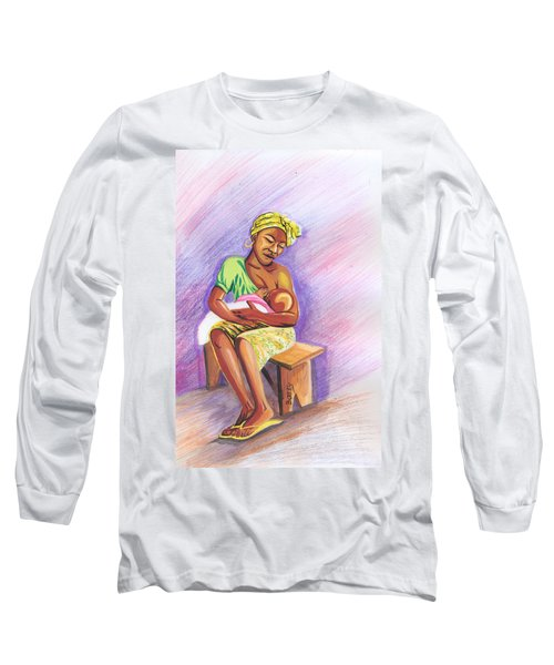 Woman Breastfeeding Bay In Rwanda Long Sleeve T-Shirt by Emmanuel Baliyanga