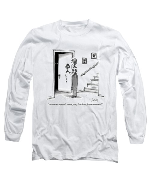 Woman Holding Lamp Stands At Dark Bedroom Doorway Long Sleeve T-Shirt
