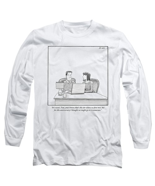 Woman Speaks To Husband As They Sit Behind A Desk Long Sleeve T-Shirt