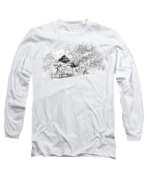Wooden House After Heavy Snowfall. Russia Long Sleeve T-Shirt