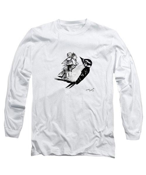 Long Sleeve T-Shirt featuring the drawing Woodpecker by Terry Frederick