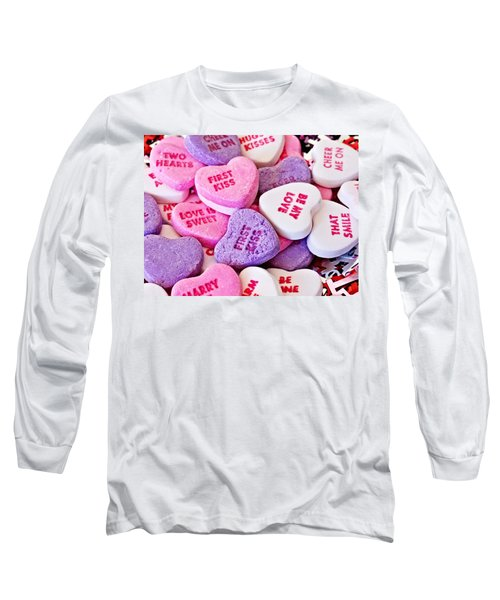Long Sleeve T-Shirt featuring the photograph Valentine Candy Hearts by Vizual Studio