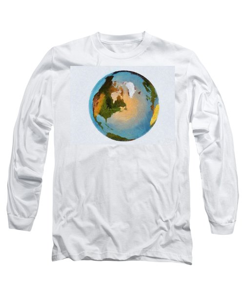 World 3d Globe Long Sleeve T-Shirt by Georgi Dimitrov