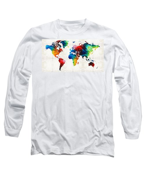 World Map 19 - Colorful Art By Sharon Cummings Long Sleeve T-Shirt