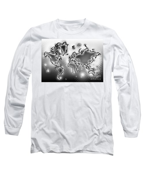 World Map Amuza In Black And White Long Sleeve T-Shirt by Eleven Corners