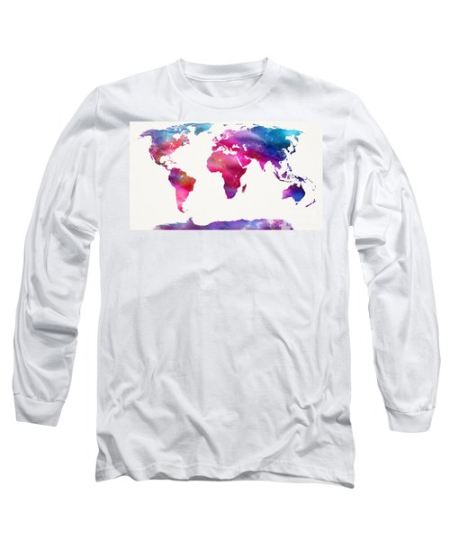 World Map Light  Long Sleeve T-Shirt by Mike Maher