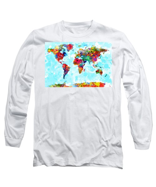 World Map Spattered Paint Long Sleeve T-Shirt
