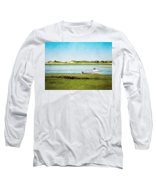Long Sleeve T-Shirt featuring the photograph Yarmouth Port Fishing Boat In Green And Blue by Brooke T Ryan