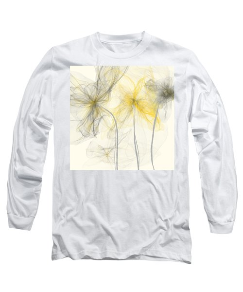 Yellow And Gray Flowers Impressionist Long Sleeve T-Shirt