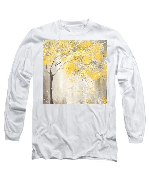 Yellow And Gray Tree Long Sleeve T-Shirt