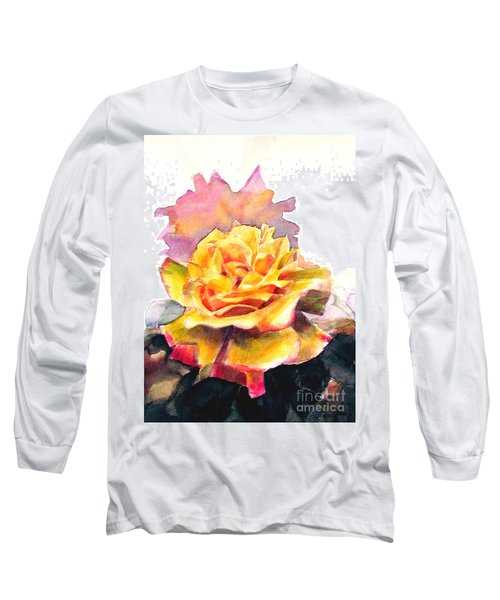 Long Sleeve T-Shirt featuring the painting Yellow Rose Fringed In Red by Greta Corens