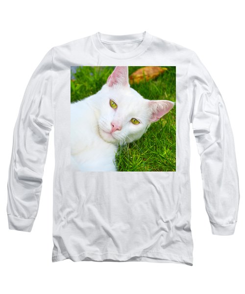 Yellow Eyes Long Sleeve T-Shirt by Tine Nordbred